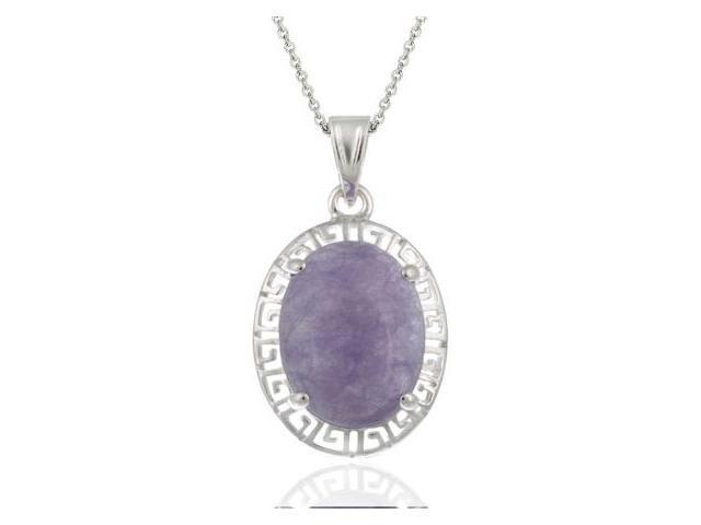 Sterling Silver Oval Chinese Lavender Jade Greek Key Design Pendant