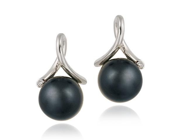 Sterling Silver Simulated Gray Pearl w/ CZ Twist Earrings
