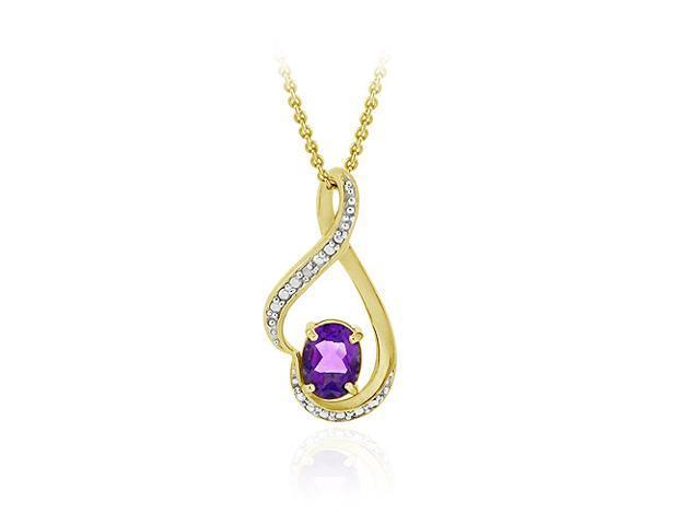 18K Gold over Sterling Silver Genuine Amethyst & Diamond Accent Swirl Pendant