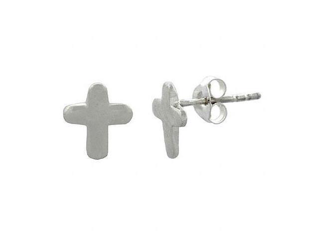 Sterling Silver Small Cross Mini Kid Stud Junior Earrings