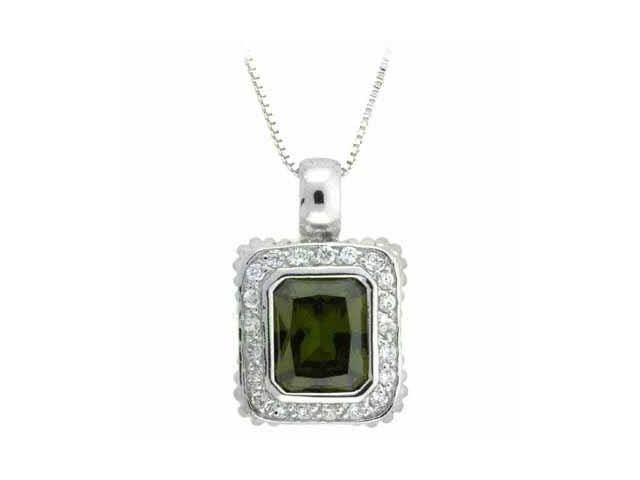 Sterling Silver Olive and Simulated Diamond CZ Square Pendant