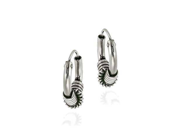 Sterling Silver Bali Spiral Wrapped Small Hoop Earrings
