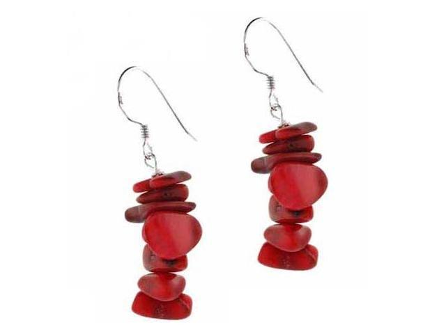 Sterling Silver Red Genuine Sea Bamboo Coral Chip Earrings