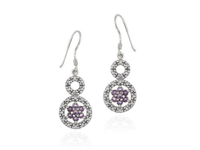 Sterling Silver Amethyst Flower & Diamond Accent Graduating Double Circle Earrin
