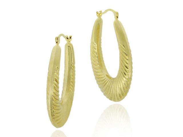 18k Gold Over Sterling Silver Oval Shrimp Design Hoop Earrings