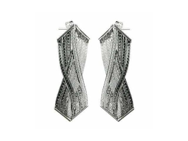 Sleek Sterling Silver Braided Dangling Earrings