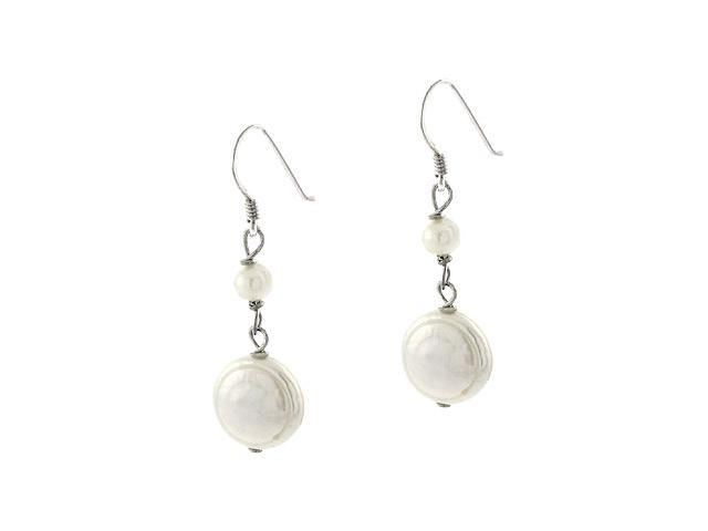 Genuine Freshwater Cultured White Coin Pearl Sterling Silver Bead Dangle Link Ea