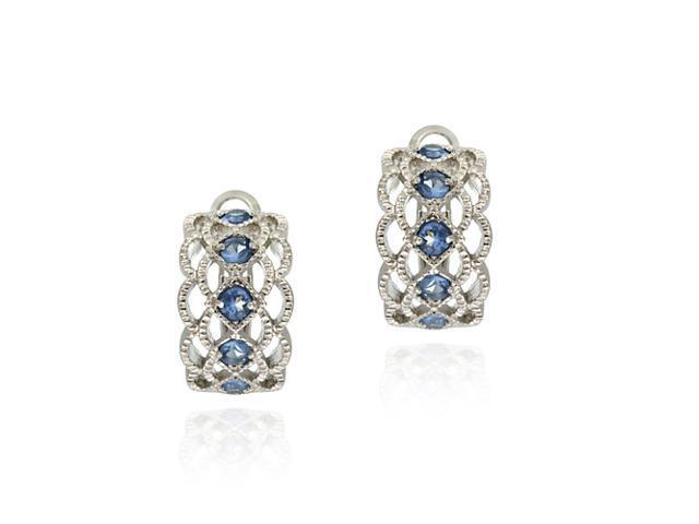 Sterling Silver Diamond Shaped Simulated Tanzanite Half Hoop Earrings
