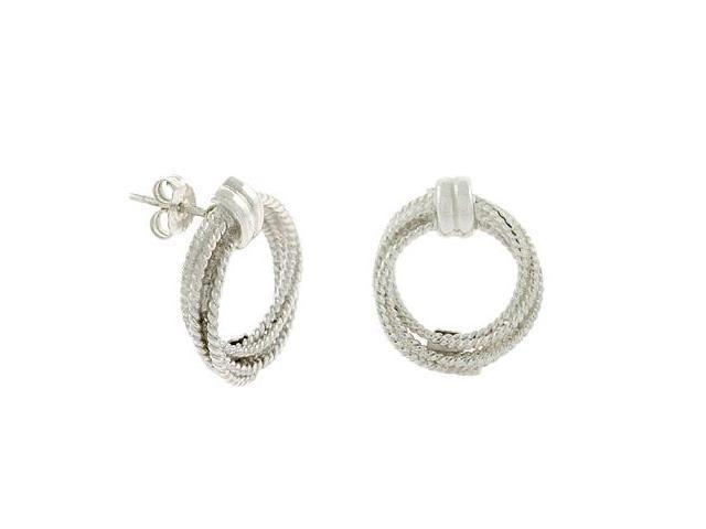 Sterling Silver Cable Twist Round Circle Earrings