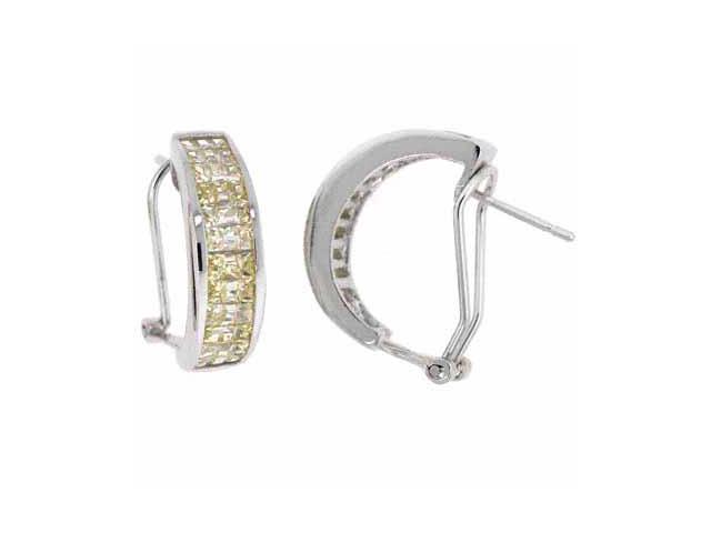 Sterling Silver Yellow Cubic Zirconia Half Hoop Earrings