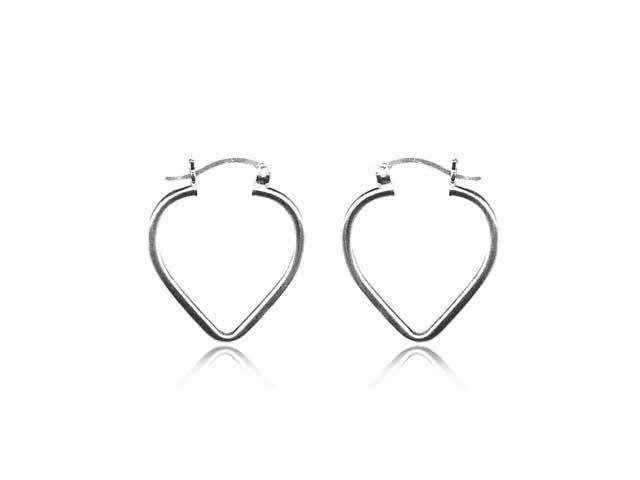 Sterling Silver Celebrity Heart Shaped Hoop Earrings