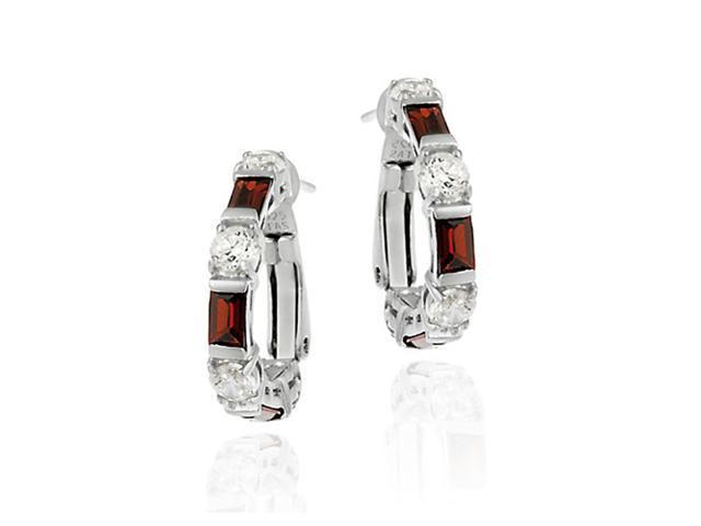 Simulated Diamond CZ and Red CZ Sterling Silver Earrings