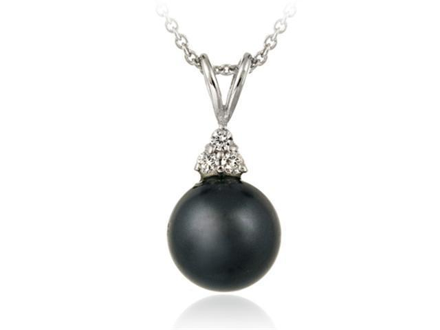 Sterling Silver Simulated Gray Pearl w/ CZ Pendant