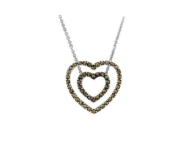 Sterling Silver 3-in-1 Marcasite Open Heart Pendant