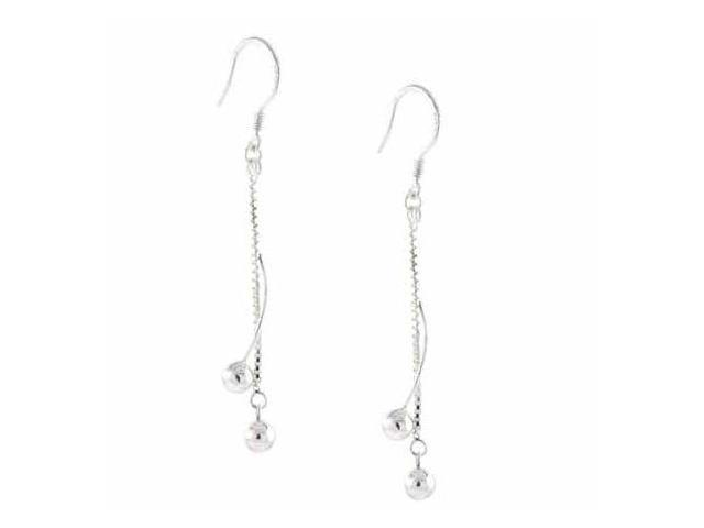 Sterling Silver Chain and Spiral Bead Earrings