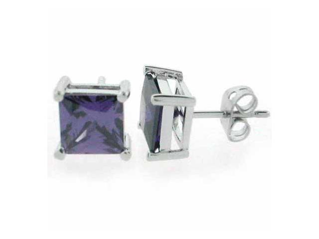 Sterling Silver Simulated Amethyst cz Square Stud Earrings