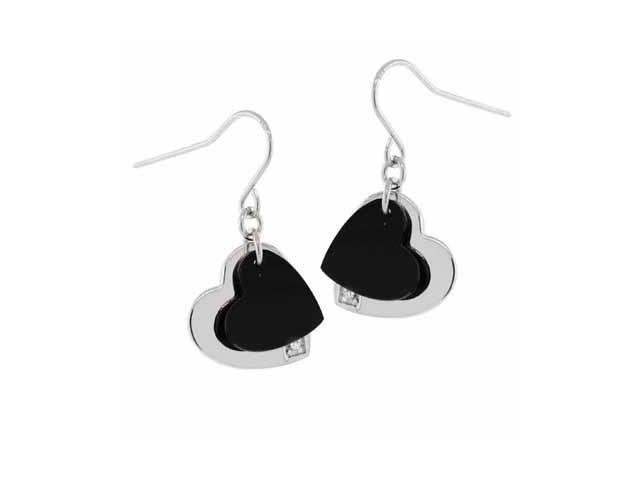 Sterling Silver Genuine Onyx Double Heart Simulated Diamond CZ Dangling Earrings