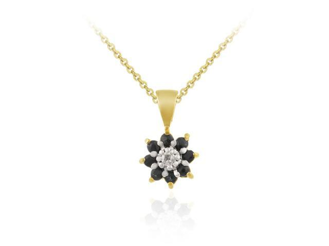 Vermeil (24kt Gold over Silver) Genuine Black Sapphire and Genuine Diamond Accen