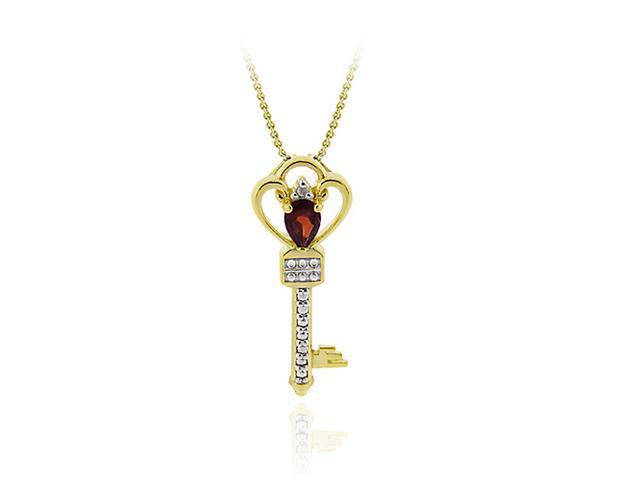 18K Gold over Silver Designer Garnet & Diamond Accent Crown Key Slide Pendant