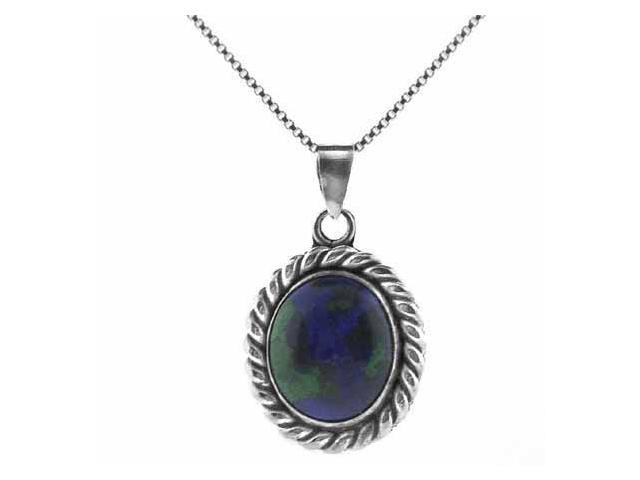 Sterling Silver Genuine Azurite Stone Twisted Border Oval Pendant
