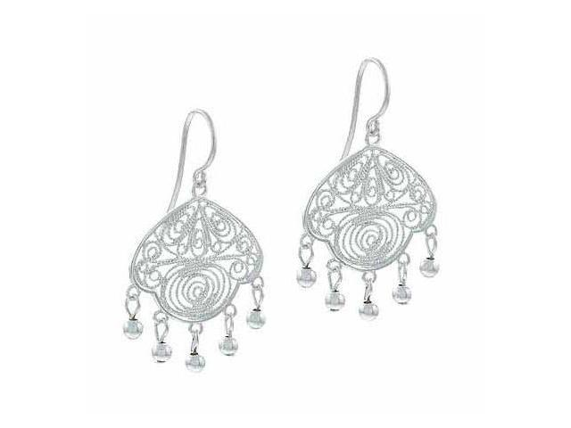 Sterling Silver Vintage Filigree Beaded Earrings