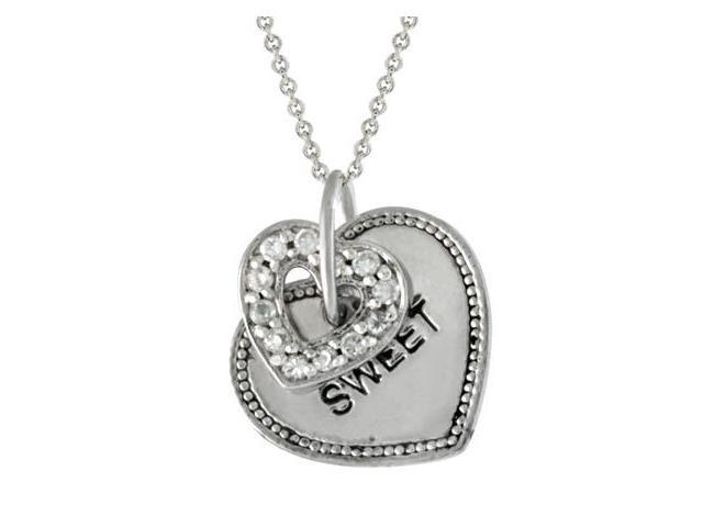 Sterling Silver CZ Heart & Heart Tag 'Sweet' Pendant