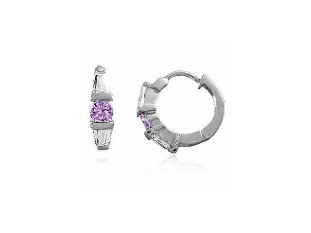 Sterling Silver Simulated Amethyst cz and Simulated Diamond CZ Hoop Earrings