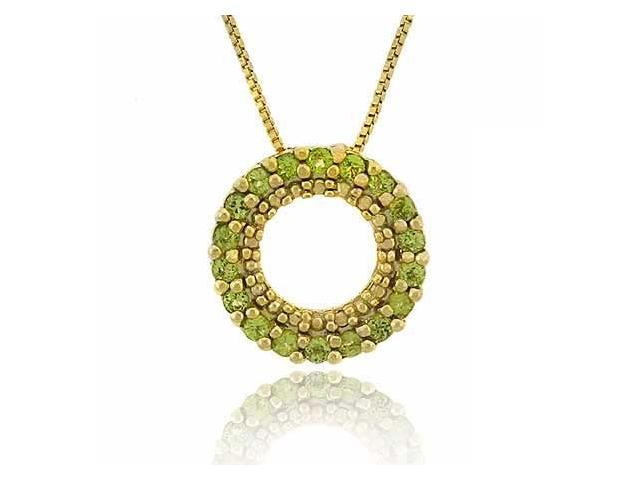 Vermeil (24k Gold over Sterling Silver) Genuine Peridot Stone Prong Round Eterni