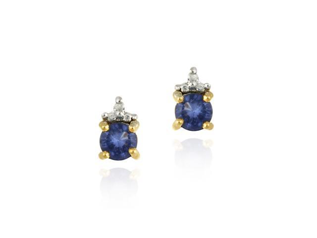 18K Gold over Sterling Silver Tanzanite CZ & Diamond Accent Stud Earrings