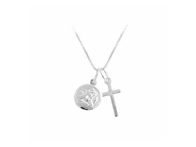 Sterling Silver Cross and Angel Charm Talisman Amulet Pendant