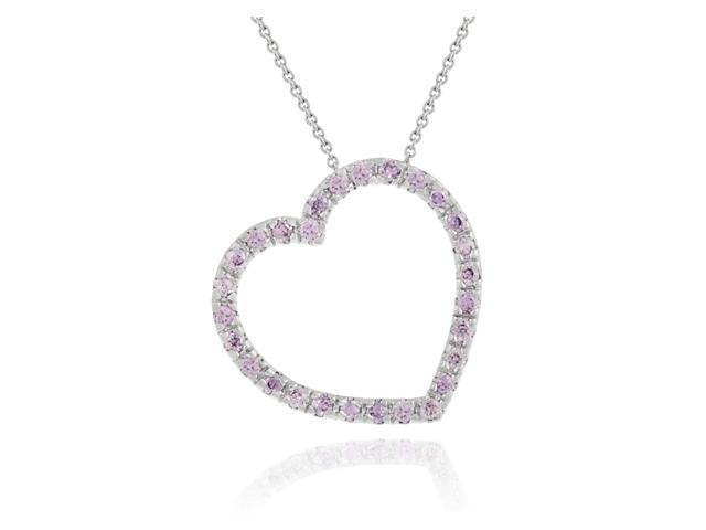 Sterling Silver Simulated Amethyst Cubic Zirconia Floating heart slide pendant