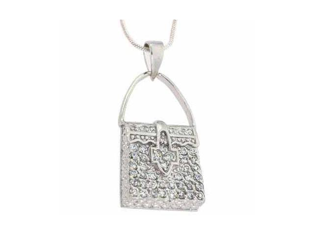 Sterling Silver Simulated Diamond CZ Pave Filigree Purse Pendant