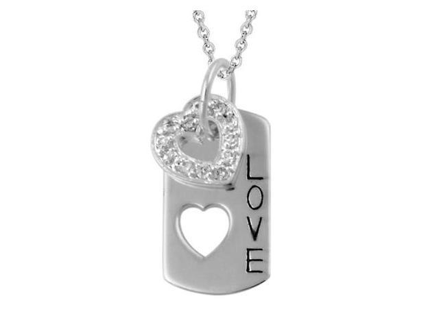 Sterling Silver CZ Heart & 'Love' Dog Tag Pendant
