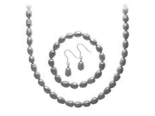 Sterling Silver Freshwater Cultured Grey Pearl Necklace, Bracelet, Earring Jewel