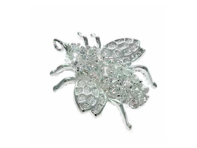 Sterling Silver Simulated Diamond cz Fly Pin/Pendant