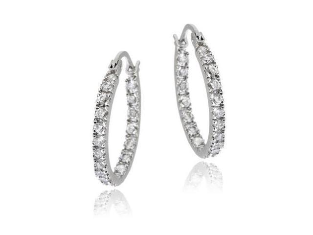 Sterling Silver 18mm Inside Out CZ Hoop Earrings