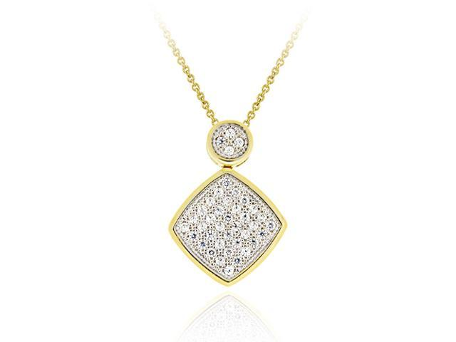18K Gold over Sterling Silver CZ Micro Pave Diamond Shaped Two-Tone Pendant