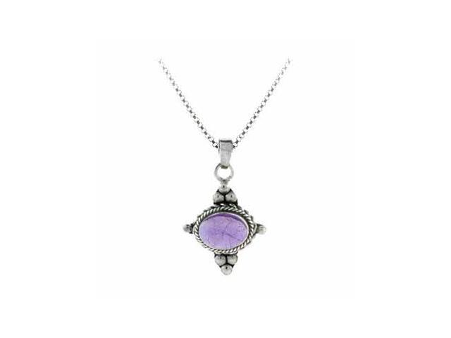 Sterling Silver Bali Beaded Genuine Amethyst Stone East West Pendant