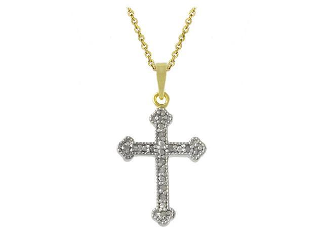 18k Gold over Silver Two-Toned Diamond Accent Cross Pendant