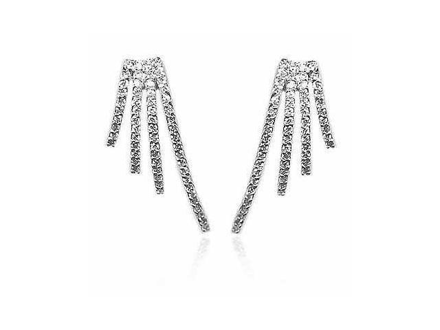 Sterling Silver Delicate Simulated Diamond CZ Earrings