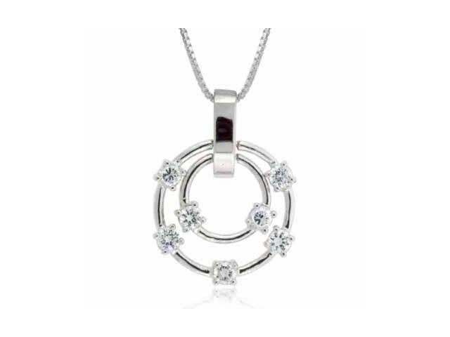 Sterling Silver Simulated Diamond CZ Circle Within a Circle Bubble Pendant