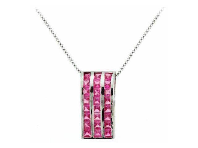 Sterling Silver Dark Pink cz Rectangle Pendant/Slide