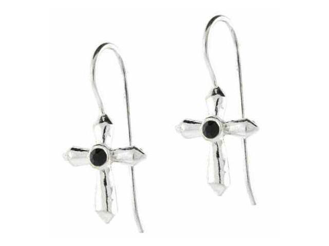 Silver Fish hook Cross Black stone Earrings