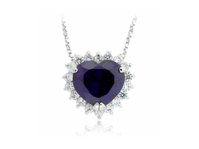 Sterling Silver Prong set Simulated Amethyst Cubic Zirconia Heart Pendant