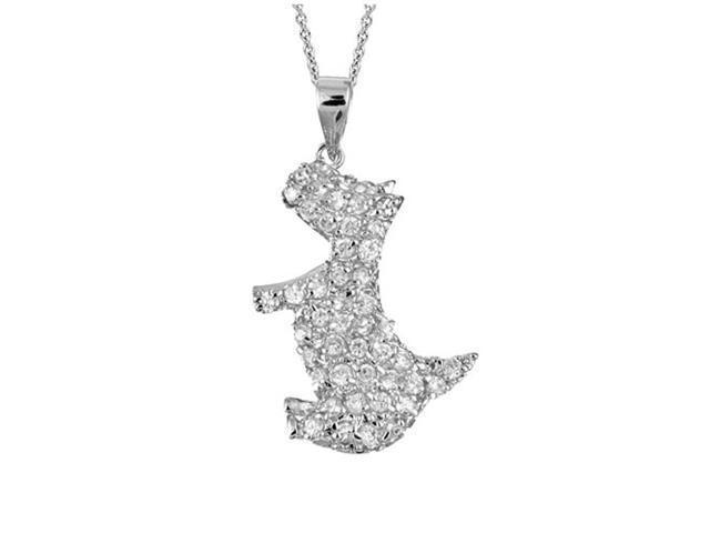 Sterling Silver Designer-Inspired CZ Scottie Dog Pendant