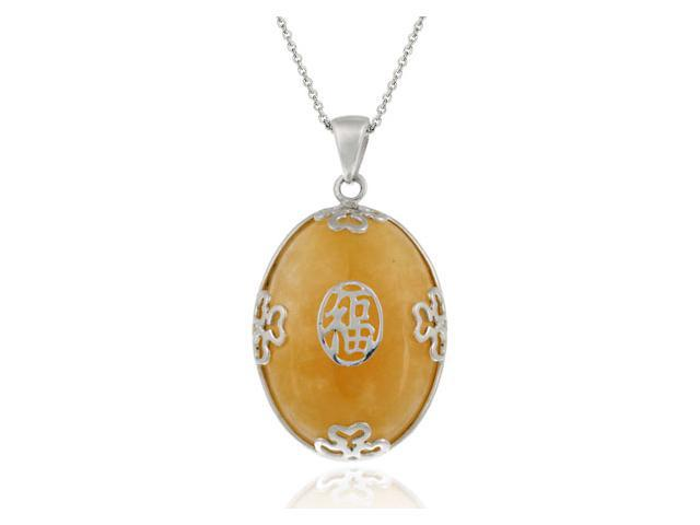 Sterling Silver and Chinese Honey Jade 'Happiness' Oval Shaped Pendant