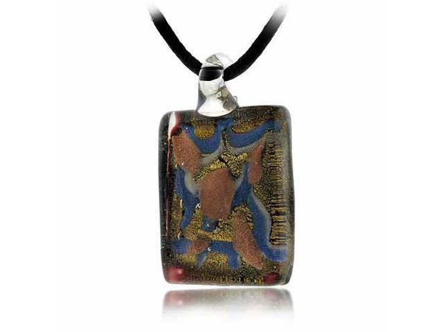 Murano Glass Bronze Color Glitter, Blue, White Mini Brown Rectangle Silk Pendant