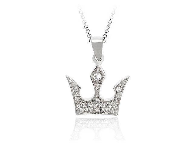 Sterling Silver .925 Diamond cubic zirconia Crown cz Pendant