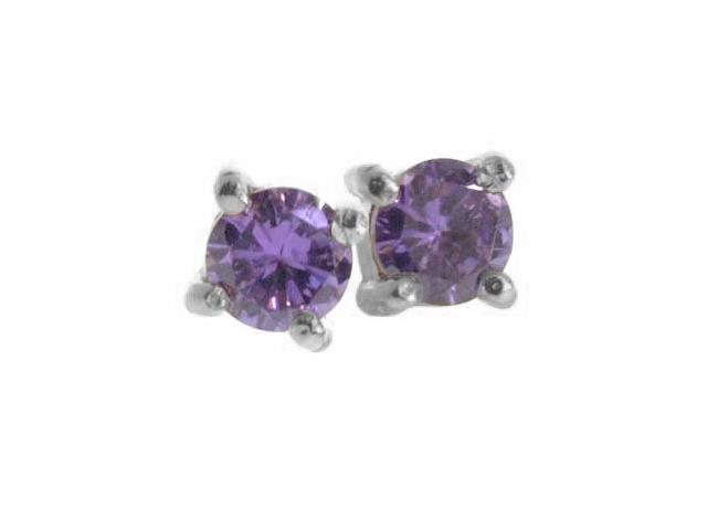 Sterling Silver Simulated Amethyst Stone 6mm round circle stud Earrings