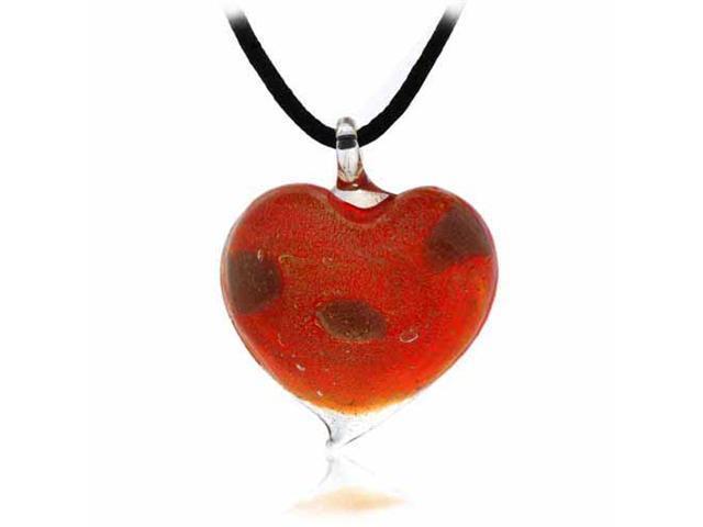 Romantic Murano Glass Gold Color Glitter Red Heart Silk Pendant Necklace Valenti